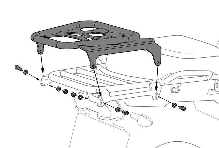 zega pro topcase rack  rapid trap  bmw r1200gs adv for oem
