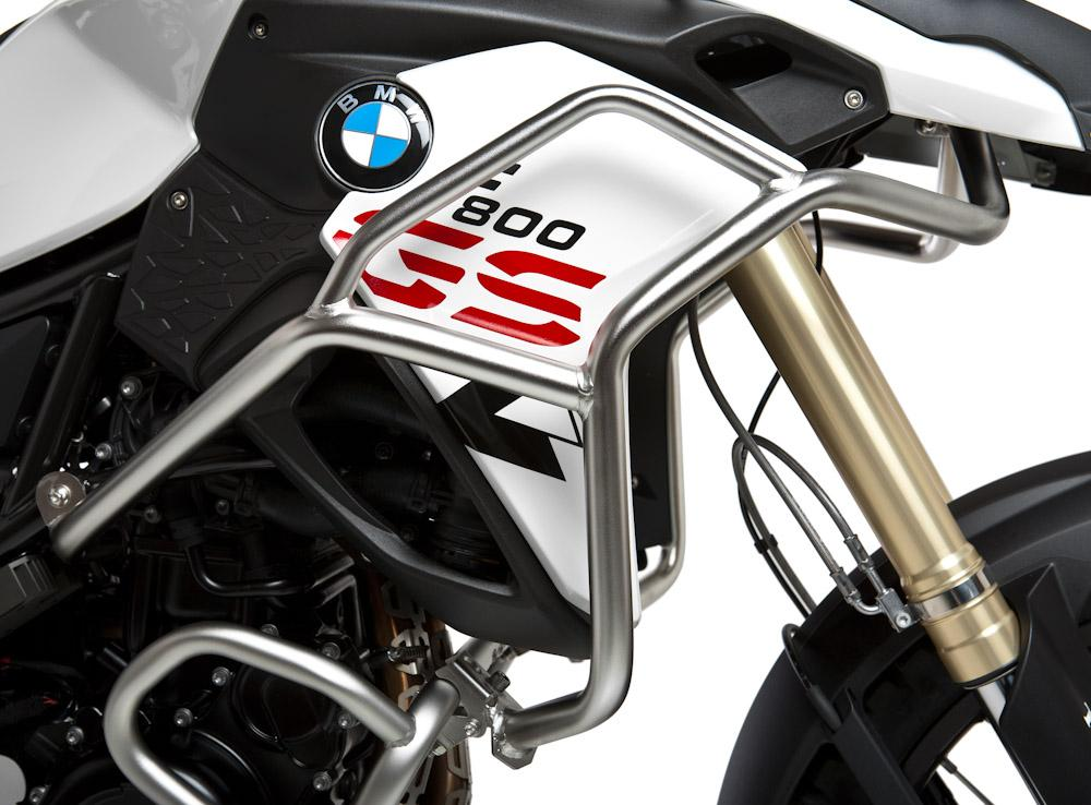 give your bmw f800gs or f700gs's upper fairing, radiator, and forks the  best protection possible with upper crash bars from touratech