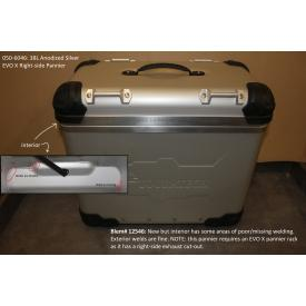 Scratch & Dent - Zega Evo X Aluminum Touring Pannier, Right Side, 38L, Anodized Silver, 050-6046, Was $700 Product Thumbnail