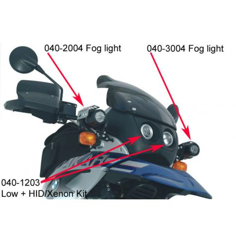 040-1203 is the center lights only.  Also shown in this picture are 040-2004 (right) and 040-3004 (left) auxilliary fog lights.  It is not possible to install two HID lights (040-1203 AND 040-1504 aux HID).