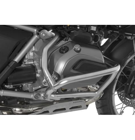Photo shows reinforcement bar installed on factory R1200GS crash bars.  (Crash bars not included)