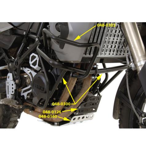Protect the radiator and bodywork on your BMW F800GS or F650 twin with upper extension bars that attach to the Touratech crash bars.
