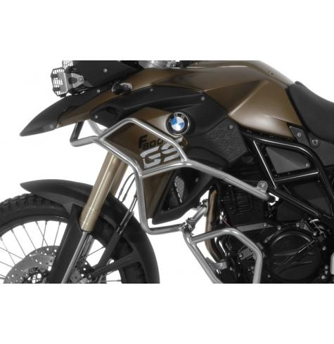 Give your BMW F800GS or F700GS's upper fairing, radiator, and forks the best protection possible with upper crash bars from Touratech.  (Pictured mounted to BMW factory crash bars, not included)