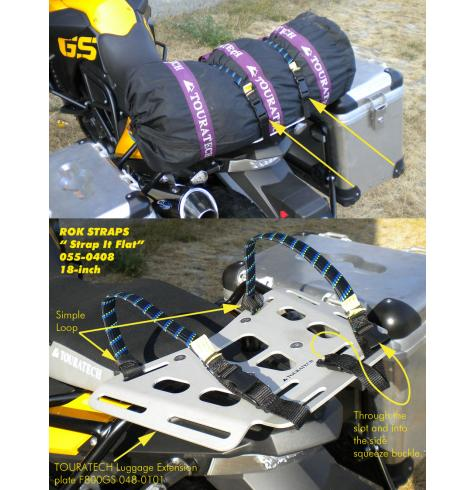 The 18-inch is a good size for tent-rolls.  The fabric loops fit the slots on a TOURATECH cargo rack perfectly, securely and there are no loose ends flapping in the breeze.