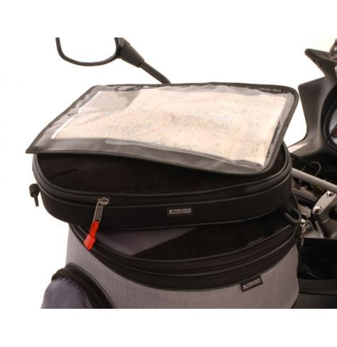This item fits between the tankbag and the map pocket, to provide segragated, additional storage on TOURATECH tankbags.