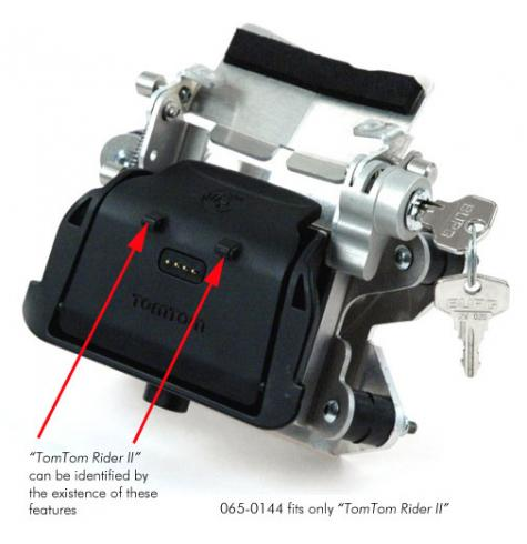 Black plastic TomTom mounting part is NOT included in the TOURATECH scope of supply.