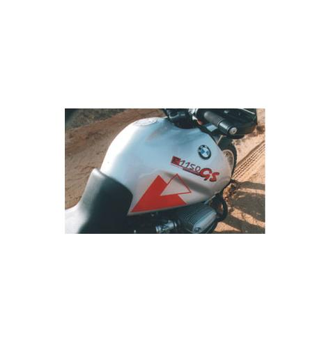 Our large tank for the R1100GS and R1150GS is constructed of polyamide nylon, the same material that modern automobile bumpers are made from.  It is much tougher than fibreglas, and impossible to dent.