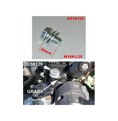 "Bolt GC10125 shown attaching the GRAB9 ""45 degree"" mount to an un-used mirror hole on an FJR1300."