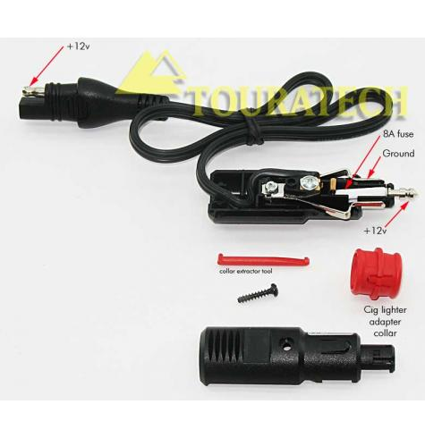 "The red collar adapts this plug to fit in a cigarette lighter socket.  See ""Larger Image"" for more info."