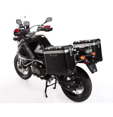 All Yamaha Super Tenere pannier systems pictured feature a polished stainless steel pannier rack.  A black epoxy-coated stainless steel pannier rack is also available.